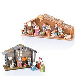 Presepe in legno con personaggi in gesso - Addobbi Per Lalbero ...