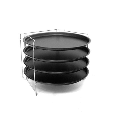 Set 4 teglie con supporto da forno